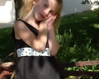 Retro Little Girls A-Line Dress with a Polka Dot Band, Size 4, 5, and 6