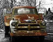 Photo of a Rusty Chevy Truck  With Blue Bowtie   8x10