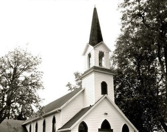 Little white country church With Steeple And Trees Black and White..............8x10