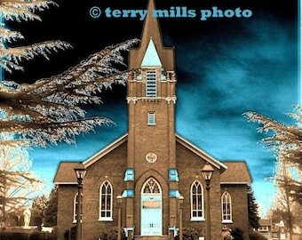 Catholic Church in St. Paul  With Steeple and Turquoise Sky  8x10