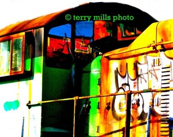 Photo of the Graffitti Train  In Green Red Yellow Blue and Black   8x10