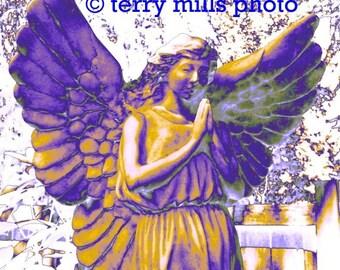 Fallen  Angel  In Purple Fushia Lilac Yellow Gold Silver Lavender 5X7
