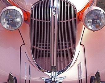 Photo of Pink Car, 1938 Plymouth With Chrome Lights and Grill and  Shiny Pink paint  8x10