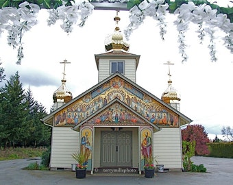 Beautiful Russian Church With Hazelnut Apple and Cherry Orchards and all Kinds of Berries 8x10