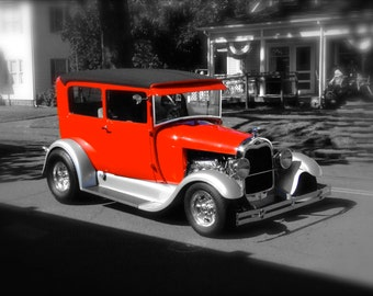 Classic Red Ford  Hotrod Cruising  to grandmother's house 8x10