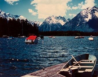 Photo of Lake Jackson in front of the Teton Mountains