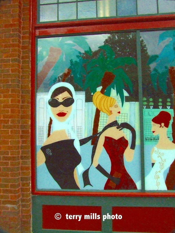 Ladies Window   Ladies with Sunglasses and Dresses in Red Green Turquoise Blue  8x10