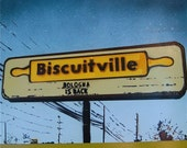 WELCOME TO BISCUITVILLE on SALE, Spray Paint Stencil on Wood
