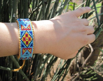 Native American Wetland Style Inspired Beaded Deer Hide Cuff Bracelet