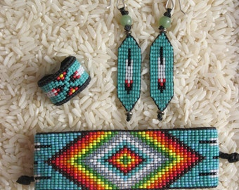 Native American Style Inspired Beaded Rainbow Feather Ring, Earrings, Bracelet Set