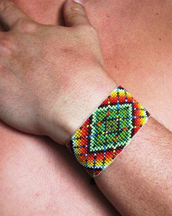 Contemporary Huichol Native American Mandala Style Emerald Green Rainbow Beaded Bracelet