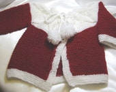 OOAK Hand Knit Baby Hat and Sweater  Red and White Chirstmas Gift Ideas