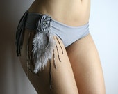 Feather and beads embellished  cotton panties