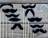 STIFF FELT Black Mustaches on a stick - Set of 10 photo booth mustaches