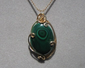 Green Stone Pendant -- Malachite in 14K Gold-Filled Wire
