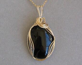 Onyx Pendant -- Black  Wire-Wrapped Onyx