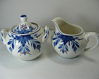 Creamer and Sugar Bowl 19th Century German Handpainted