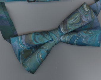 SALE - Adjustable Bowtie Marbled aqua turquoise hand-made Tie