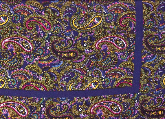 Vintage Silk Scarf Paisley navy blue & yellow