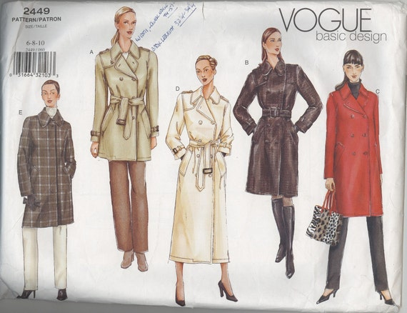 Trench Coat Pattern Sew Vogue Trench Coat Pattern 2449