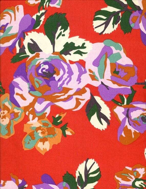 Bold Vintage ECHO silk scarf red purple orange