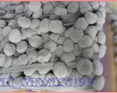 Gray Pom Pom Ball Fringe Tassel Trim Knitting Apparel Sewing Embellishments 12mm 18 Yards