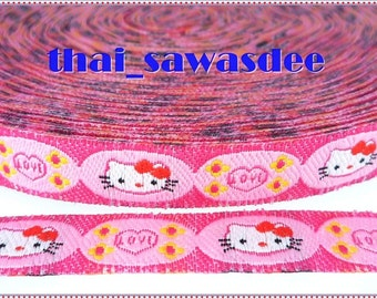 Kitty Love Ribbon Clothing Quilting Craft Baby Trim Apron 4 Yards
