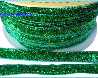 Green Metallic Velvet Ribbon Sequin Apparel Applique Sewing 5 Yards