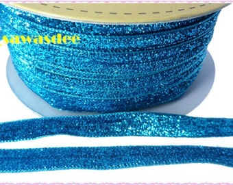 Aqua Blue Metallic Ribbon Gift Scrapbooking Trim Supplies Sewing Tape Embellishments 5 Yards
