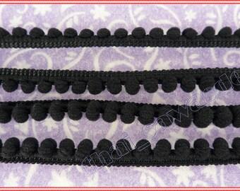 5mm Black PomPom Ball Embellishments Sewing Apparel Shawl 6 Yards
