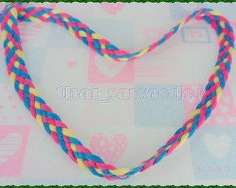 Blue Pink Rainbow Plait Ribbon Tape Braid Sewing Trim 2 Yards