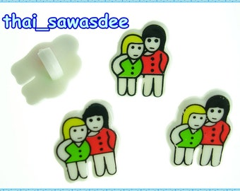Boy Girl Shank Plastic Button Trim Sewing Fabric Appliques 6 Pieces