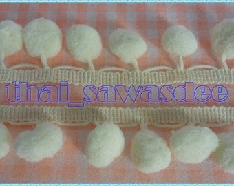 12mm Light Cream Pom Pom Ball Fringe Trim Embroidered Braid Woven Sewing Embellishments Supplies 2 Yards