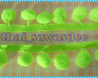 Lime Pom Pom Quilting Pillow Case Knitting Craft Decorate 2 Yards