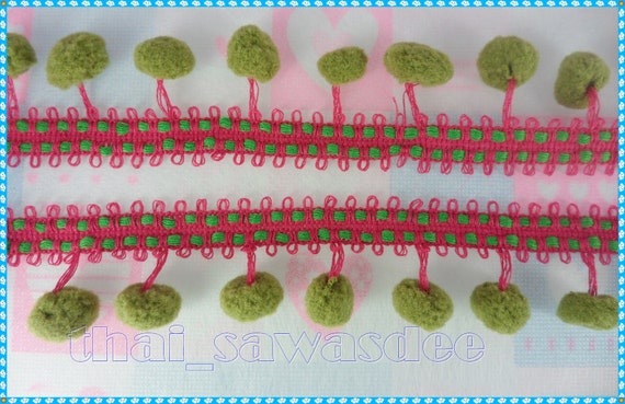 Hot Pink Olive Pom Pom Fringe Ball Fluffy Trim Drapery Ruffles  Braid Sewing Tape DIY Craft Supplies 3 Yards
