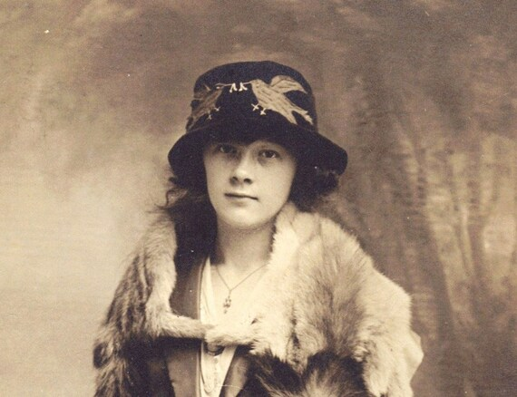 Young Lady In Hat and Fur 1920s RPPC