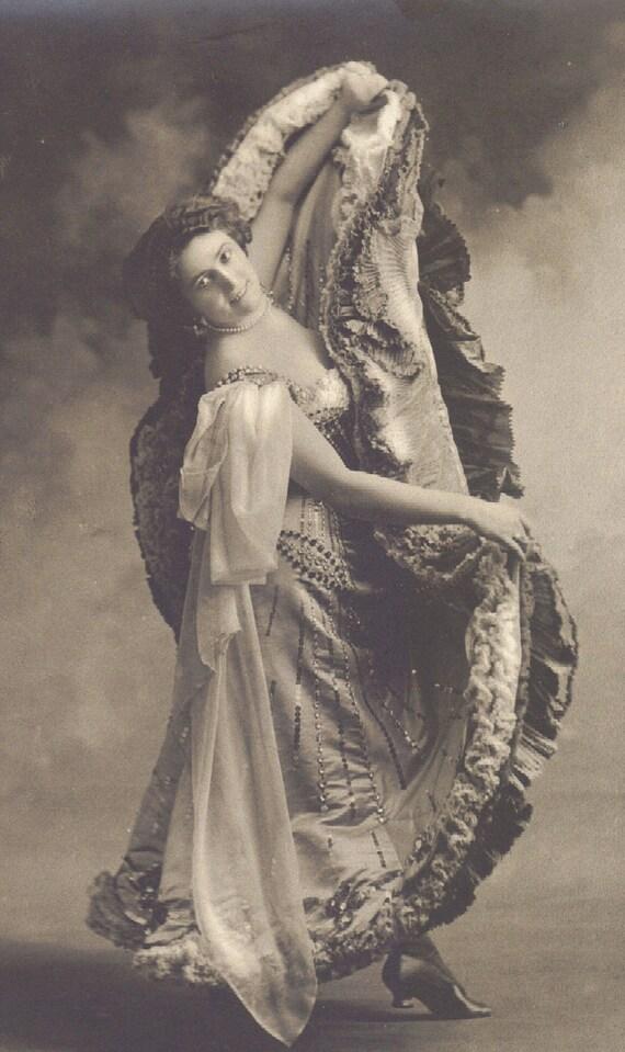 Dancer in Ruffled Skirt Early 1900s RPPC