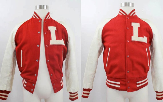 Men's Red and White Wool And Leather Letterman Jacket Size Small