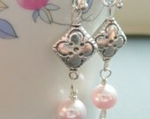 Sterling Silver Earrings with Pink Swarovski Pearl and Silver Bali Beads - Free Worldwide Shipping