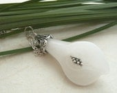 White Lily from White Jade Sterling Silver Necklace - Free Worldwide Shipping
