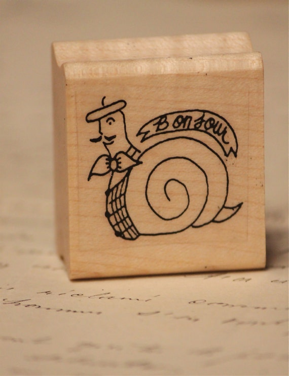 French Snail Bonjour Rubber stamp