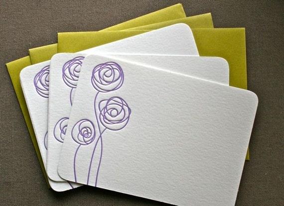 Purple Flower Letterpress Notecards Set of 3