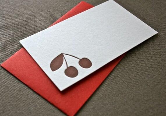 Cherry Letterpress Enclosure Card