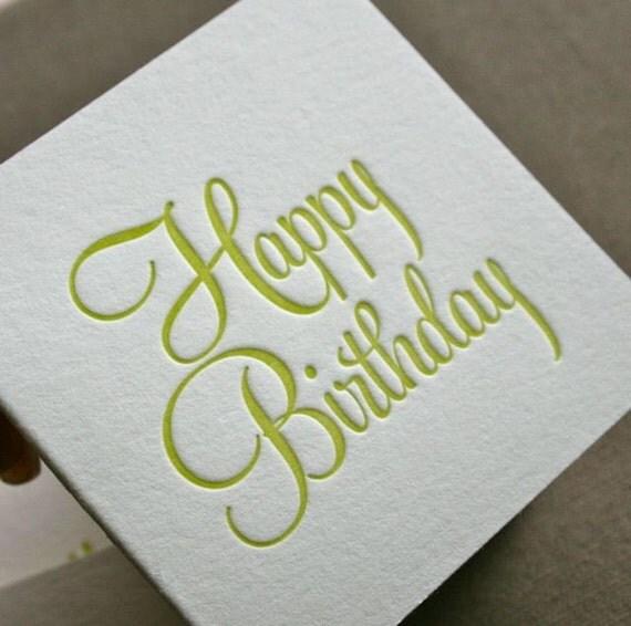 Happy Birthday Letterpress Tag Set of 3