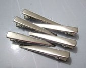 100PCS--47x7mm--Silver flat metal hair alligator clip--47x7mm