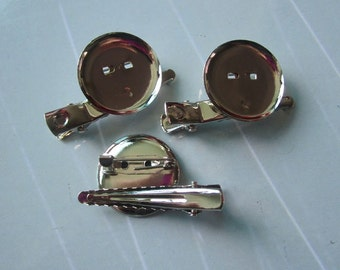 50 pcs - Silver Metal brooch, Hair Clip Brooch Pin Backings 23mm