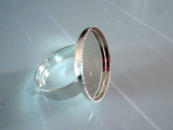 50pcs-Shiny Silver Ring Base Adjustable with  20mm Round Pad