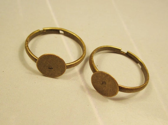 Ring--50pcs antique bronze Ring Base Adjustable with 8mm Round Pad