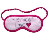Harvest LOVE Sleep Eye Mask with Pink and Black Embroidery - PomponDesigns