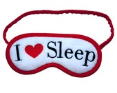 I Love Sleep mask, Heart blindfold, White sleeping eye mask, Red sleepmask, Embroidered accesories, Cotton or silk nightwear, Gift for her